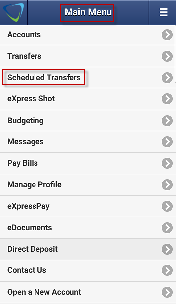Screen capture displays image of highlighted area for Scheduled Transfers.