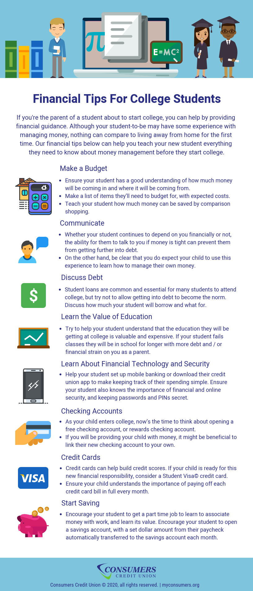 financial tips for college students - consumers credit union