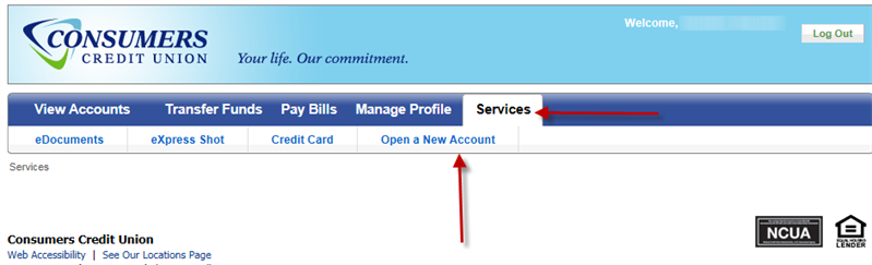 Screen capture showing services tab and Open a new account link