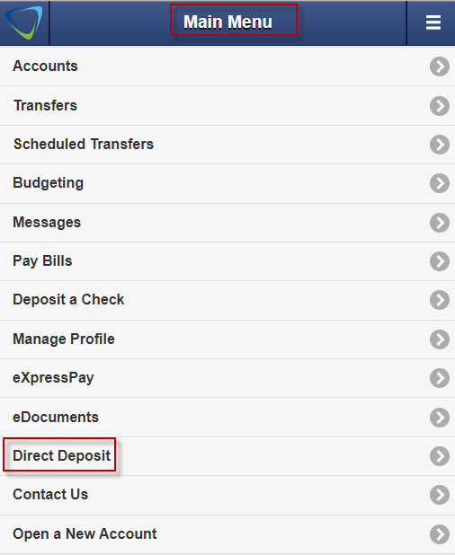 Screen capture of main navigation showing direct deposit highlighted