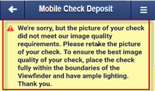 Screen capture showing an error with mobile check deposit images