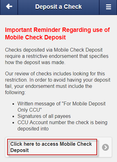 Mobile Check Deposit User Guide - Consumers Credit Union