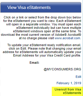 Screen capture showing the unenroll from Visa eStatements link