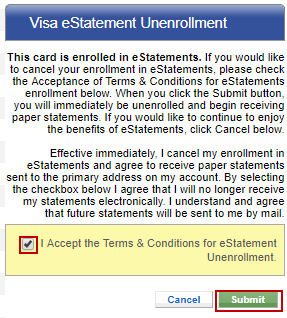Screen capture showing the box to accept the terms & conditions and the submit button