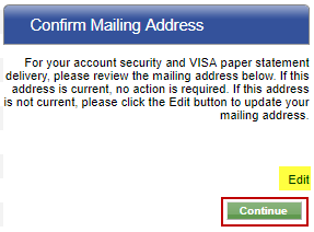 Screen capture showing the edit link to edit your mailing address and the submit button