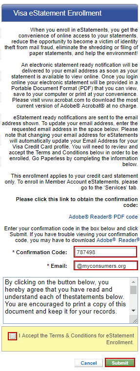 Screen capture showing entering the PDF code in the confirmation code input and entering your email in the email input. Accepting the terms & conditions and clicking the submit button