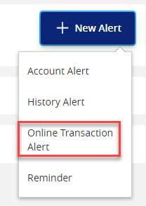 Screen capture displays image of button highlighting area to select online transaction alert