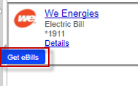 Screen capture showing Get eBills button