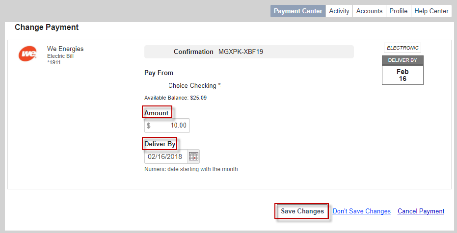 Screen capture showing where to enter your changes and select Save Changes