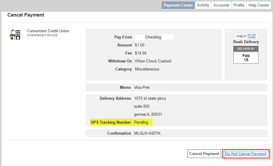 Screen capture showing tracking number and do not cancel payment link
