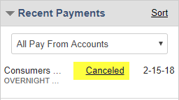 screen capture showing canceled payment