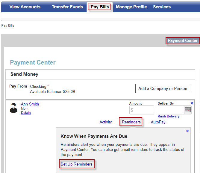 You can select to see your Reminders within your Payment Center in addition to receiving an email alert.