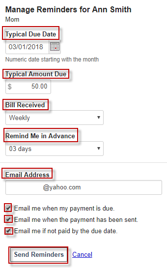 Screen capture showing reminder options for autopay