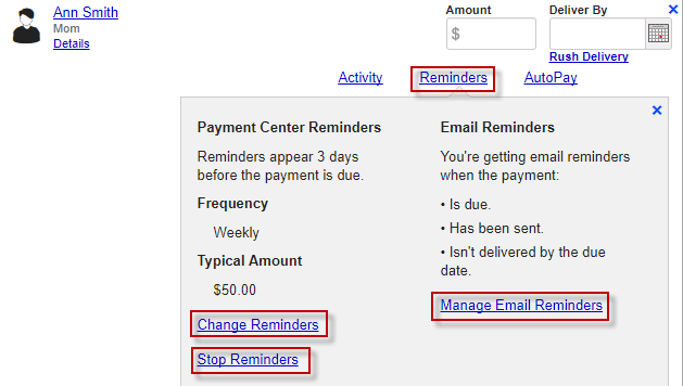 Screen capture showing payment reminder options