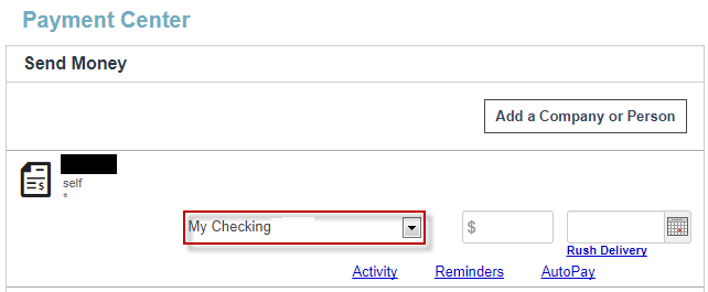 Screen capture showing your new account name as the pay from option