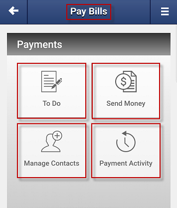 Screen capture showing the options on the pay bills screen