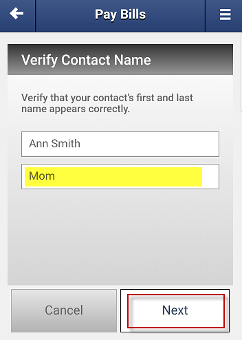 Screen capture showing verification of contact name