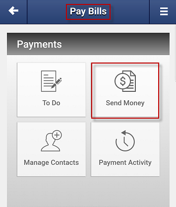 Screen capture showing the send money button