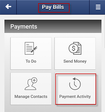 Screen capture showing payment activity button