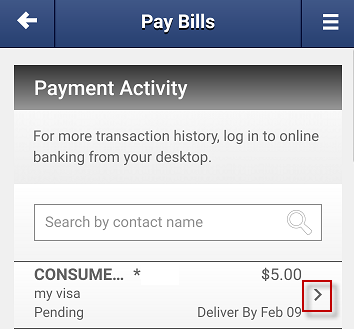 Screen capture showing payment activity