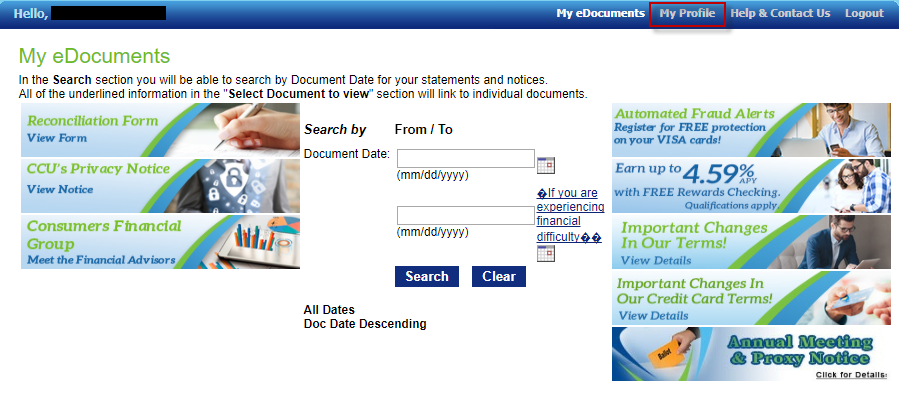 Screen capture of eDocuments profile