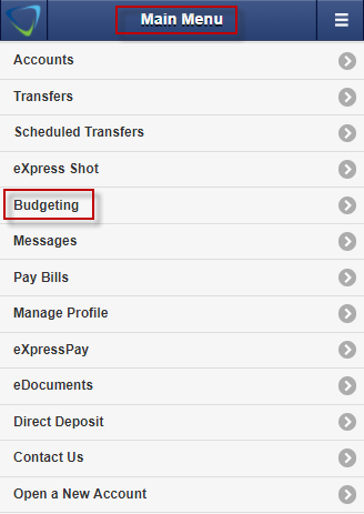 Screen capture shows Budgeting tool under Main Menu.