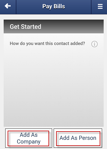 Screen capture shows option to add contact as a company or a person.