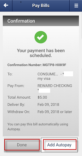 Screen capture shows scheduled payment confirmation.