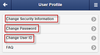Screen capture shows options to change User Profile.