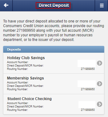 Screen capture shows list of sample direct deposit options
