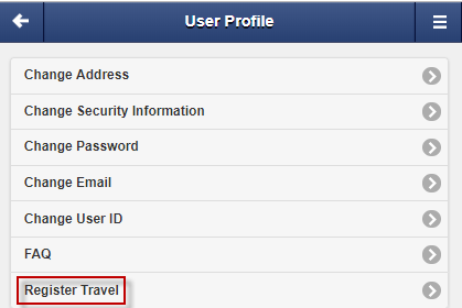 Screen capture of user profile menu highlighting the register travel button