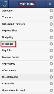 Screen capture shows Messages area highlighted in mobile app main menu.
