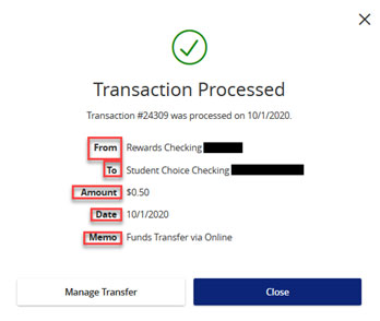 Screen capture displays transaction processed