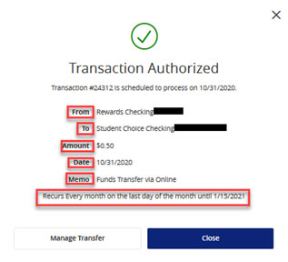 Screen capture displays recurring transaction authorized