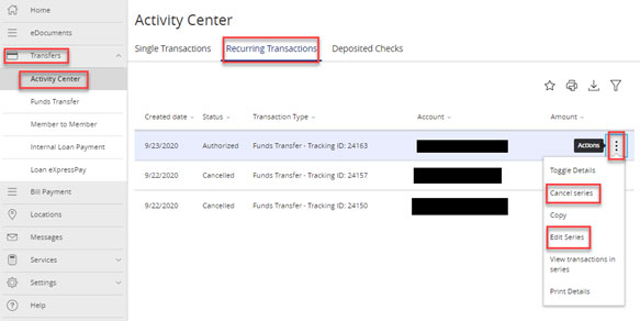 Screen capture displays recurring transaction menu highlighting cancel series and edit series buttons