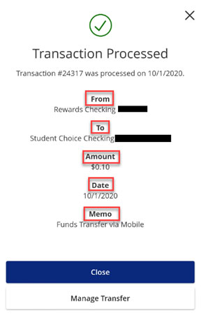 Screen capture showing Immediate Transaction processed