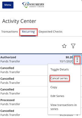 Screen capture of activity center menu edit recurring transfer tab highlighting cancel series button