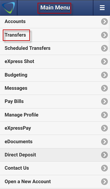 Screen capture shows Transfers section on mobile app main menu.