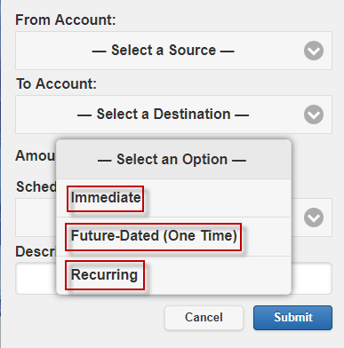 Screen capture shows Scheduling Options.