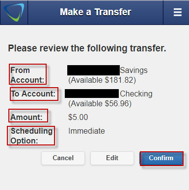 Screen capture shows prompt to review your transfer.