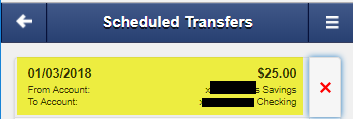 Screen capture shows Scheduled Transfers.