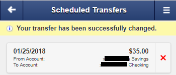 Screen capture shows notice stating the transfer has been successfully changed.