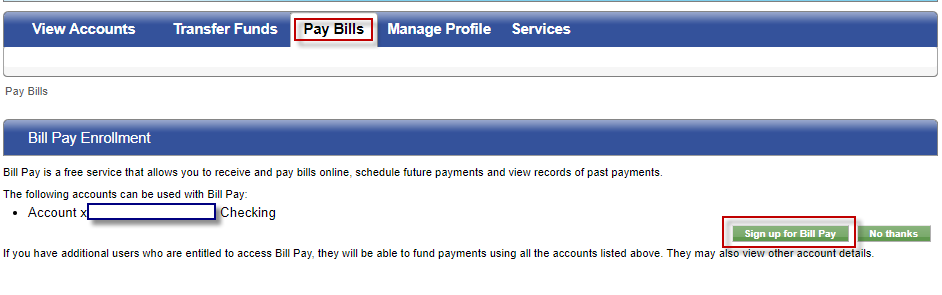 Screen capture showing examples of what accounts can be used to pay bills