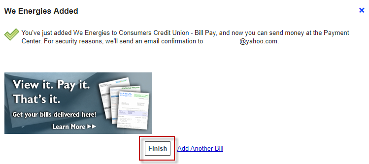 Once added, you will receive a confirmation message indicating the payee was added.