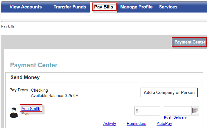Screen capture showing how to delete or remove a payee