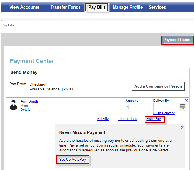 Screen capture showing autopay link and set up autopay link