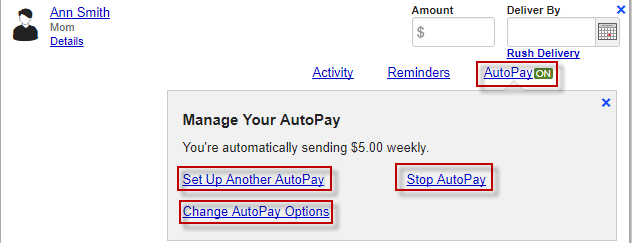 Screen capture showing autopay is on and manage autopay options