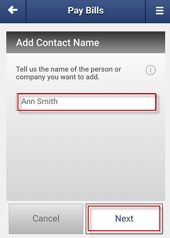 Screen capture showing the field to enter a new contacts name and the next button