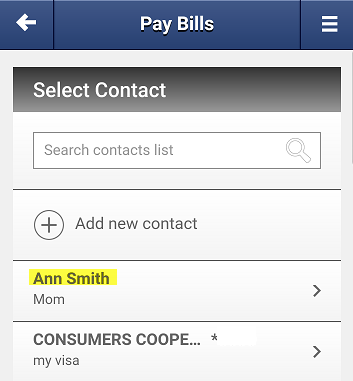 Screen capture showing a list of bill pay contacts