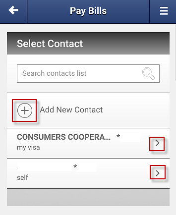 Screen capture showing the button to add a new contact and the button to pay existing contacts